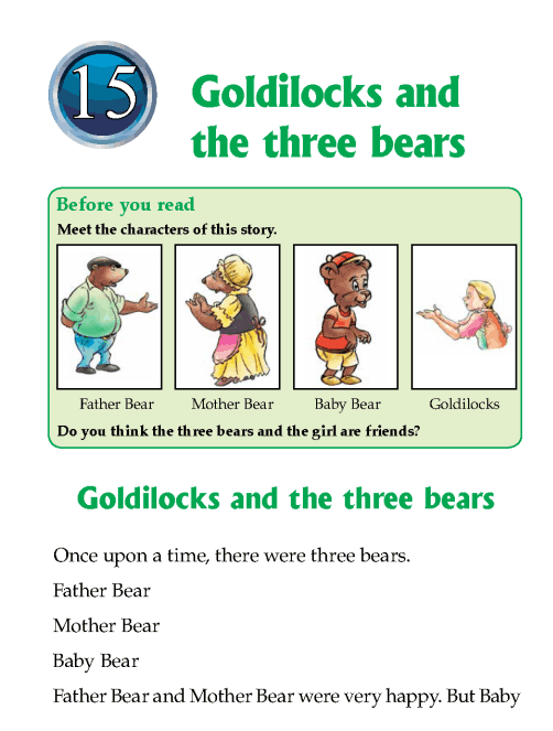 Literature Grade 1 Fairy tales Goldilocks and the three bears