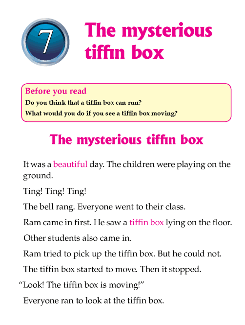 Literature Grade 1 Mystery The mysterious tiffin box