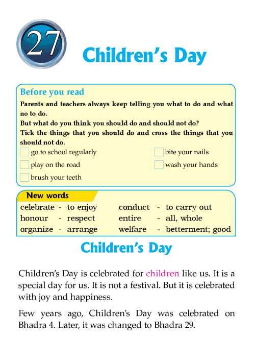 Literature Grade 1 Nepal special Children's Day