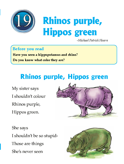 Literature Grade 1 Poetry Rhinos purple, Hippos green