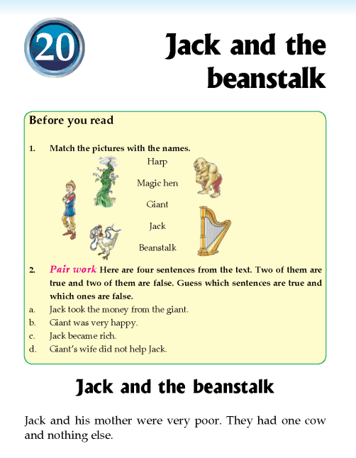 Literature Grade 2 Fairy tales Jack and the beanstalk