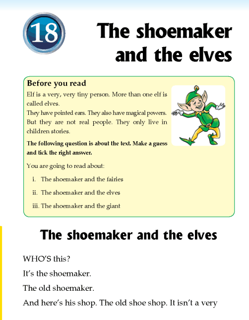 Literature Grade 2 Fairy tales The shoemaker and the elves