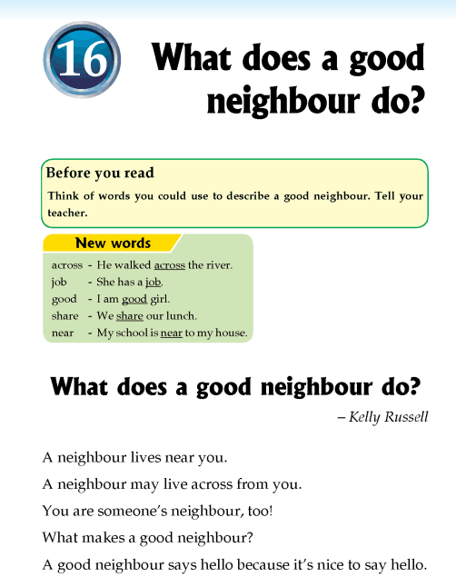 Literature Grade 2 Non-fiction What does a good neighbour do?