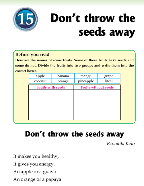 Literature Grade 2 Poetry Don't throw the seeds away