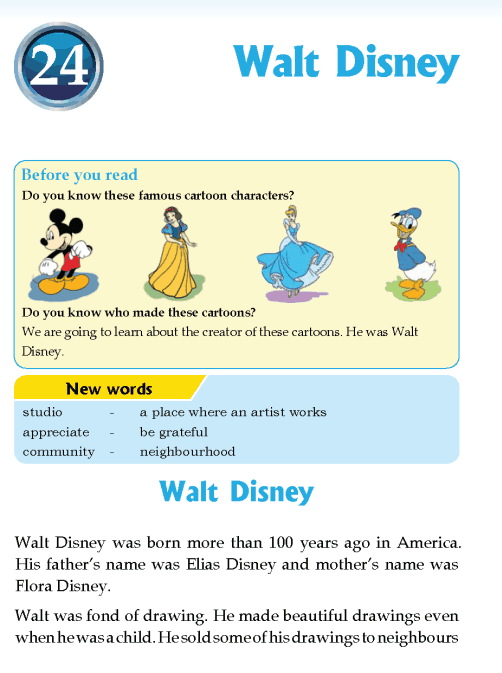 literature Grade 3 Biography Walt Disney
