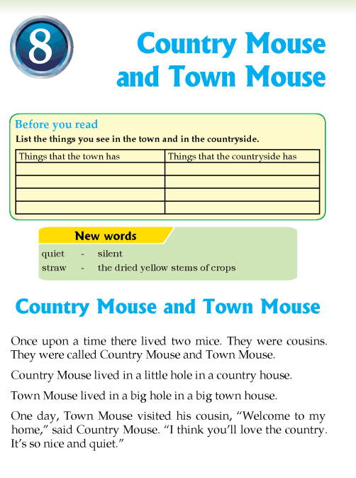 Literature Grade 3 Fables and folktales Country Mouse and Town Mouse