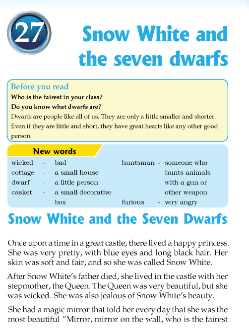 literature Grade 3 Fairy tales Snow White and the seven dwarfs