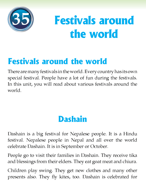 Literature Grade 3 Feature Festivals around the world
