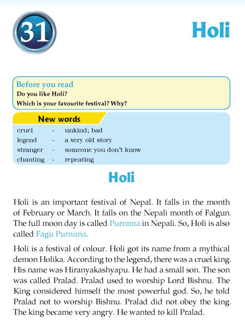 literature Grade 3 Nepal special Holi