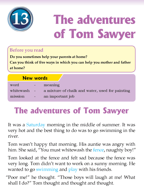 Literature Grade 3 Short stories The adventures of Tom Sawyer