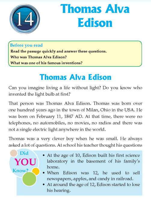 Literature Grade 4 Biography Thomas Alva Edison