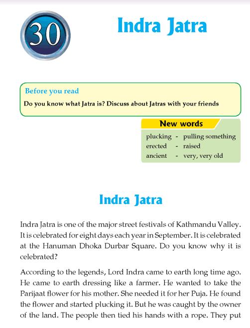 Literature Grade 4 Nepal special Indra Jatra