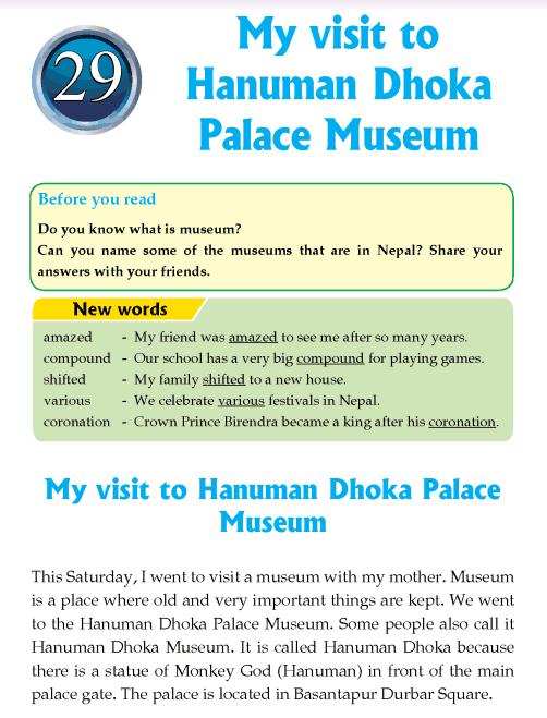 literature- grade 4-Nepal special-My visit to Hanuman Dhoka Palace Museum (1)