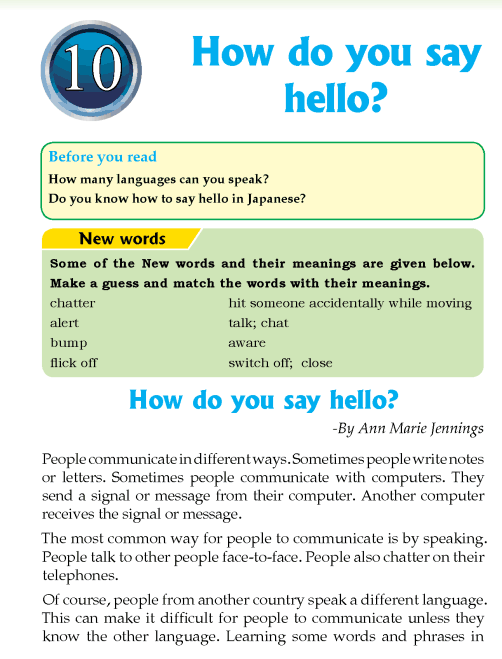 Literature Grade 4 Non-fiction How do you say hello?