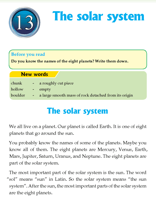 Literature Grade 4 Non-fiction The solar system