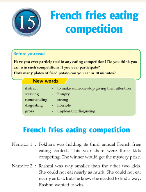 Literature Grade 4 Play French fries eating competition