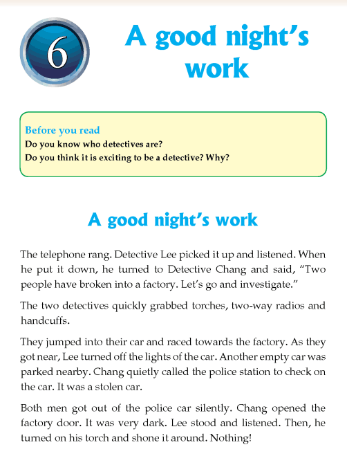 Literature Grade 4 Short stories A good night's work