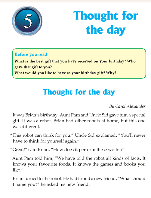 Literature Grade 4 Short stories Thought for the day