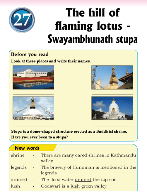 Literature Grade 5 Nepal special The hill of flaming lotus - Swayambhunath stupa