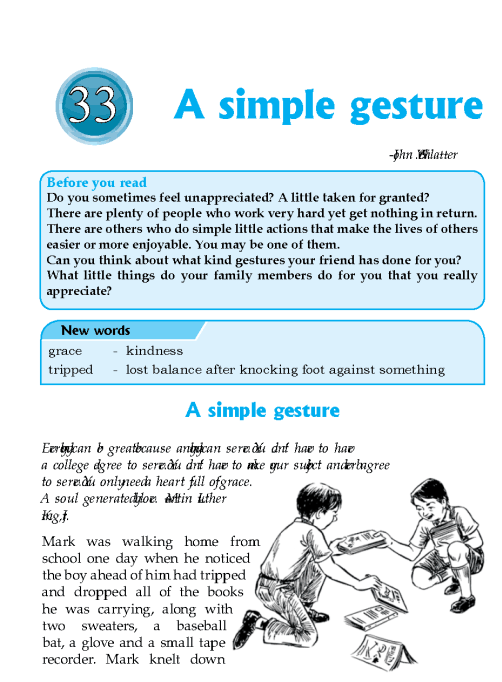 Literature Grade 6 Inspirational A Simple Gesture
