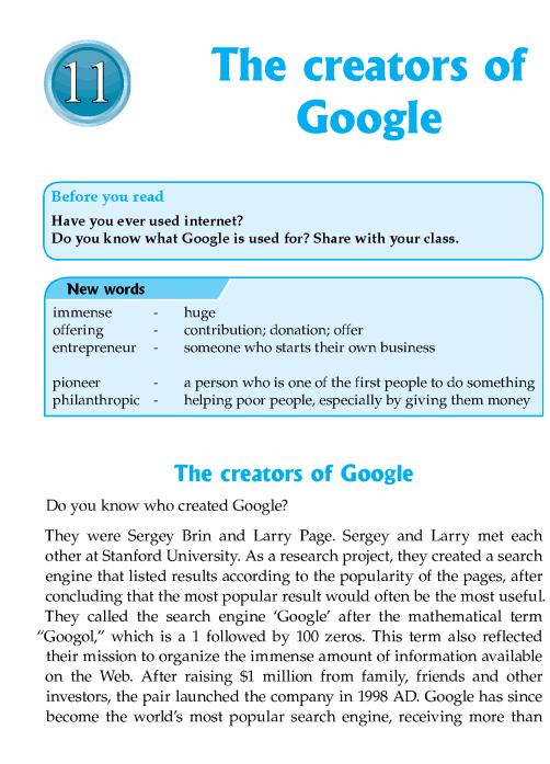 Literature Grade 7 Biographies The Creators Of Google