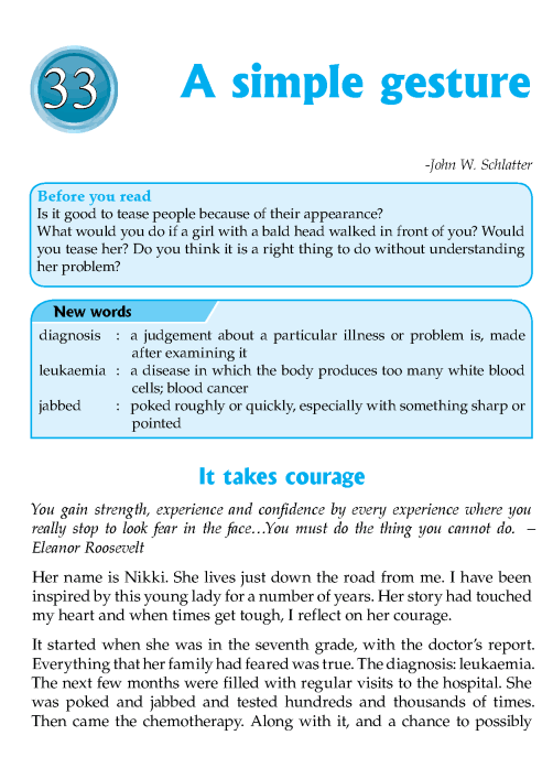 Literature Grade 7 Inspirational A Simple Gesture