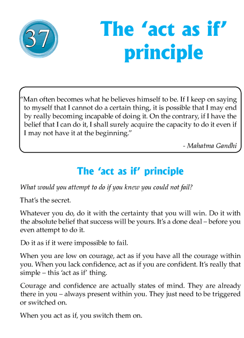 Literature Grade 7 Inspirational The 'act as if' Principle