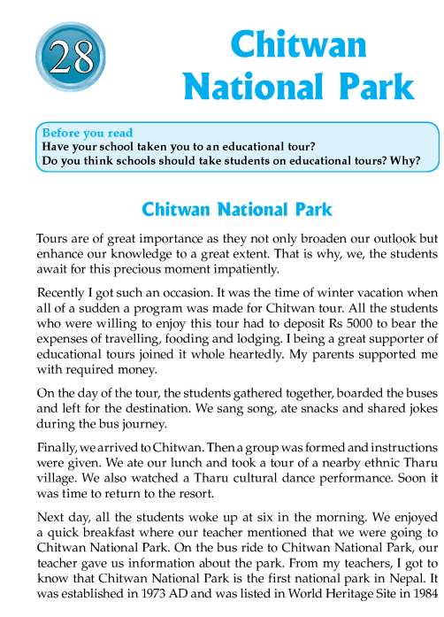 Literature Grade 7 Nepal Special Chitwan National Park