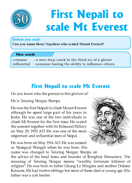 Literature Grade 7 Nepal Special First Nepali To Scale Mt Everest