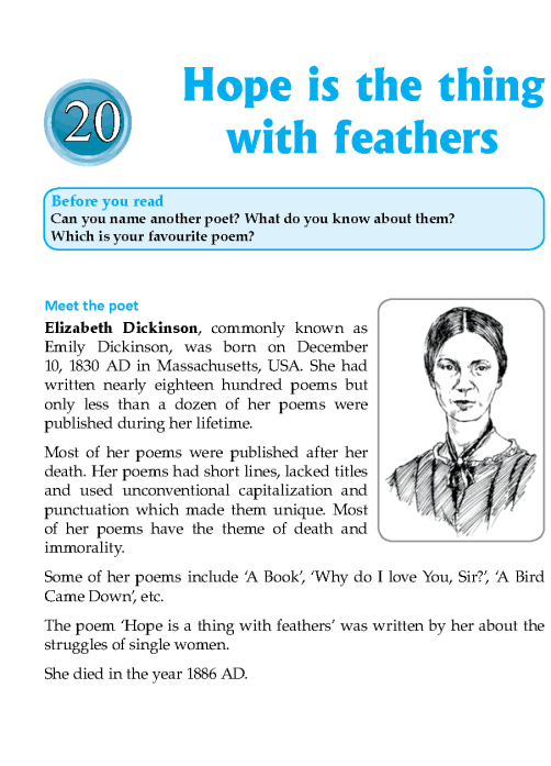 Literature Grade 7 Poetry Hope Is The Thing With Feathers