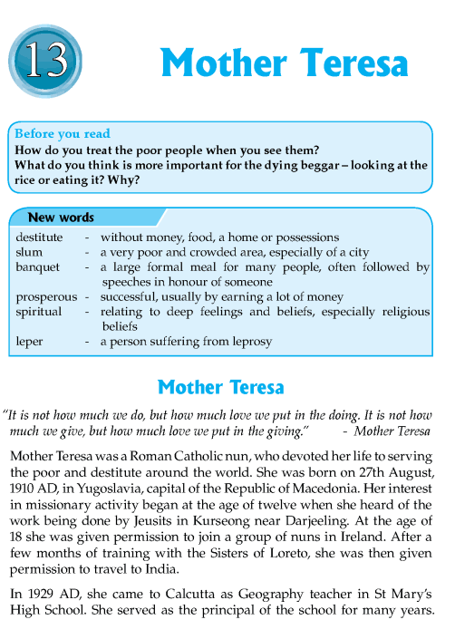 Literature Grade 8 Biography Mother Teresa