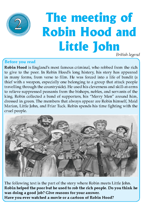 Literature Grade 8 Myths And Legends The Meeting Of Robin Hood And Little John