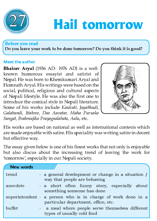 Literature Grade 8 Nepal Special Hail Tomorrow