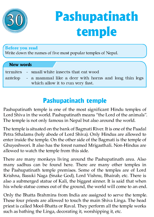 Literature Grade 8 Nepal Special Pashupatinath Temple